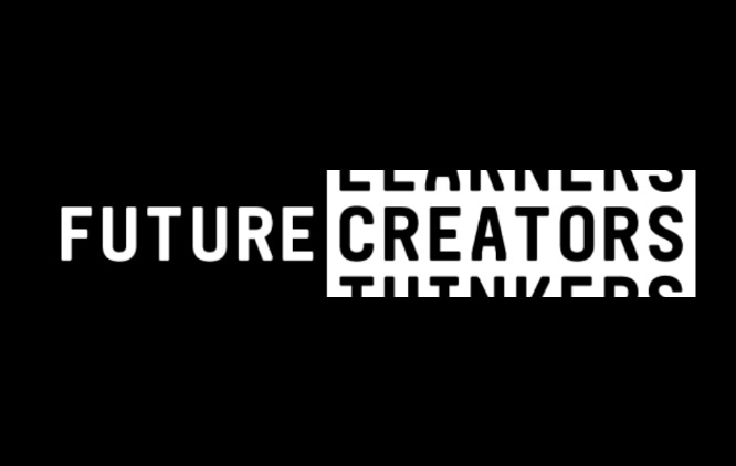 The image has a black background with white text across it that reads 'Future Creators'.