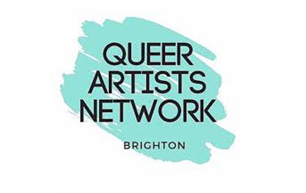 Queer Artists Network Logo. Teal on a white background with bold black lettering.