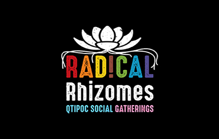 Radical Rhizomes, A programme of social gatherings by and for queer, trans and intersex people of colour (QTIPoC) in Brighton & Hove logo.
