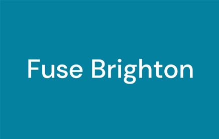 Deep turquoise background with white text reading 'Fuse Brighton' in the centre of the image