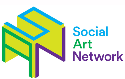 Lime green, turquoise, green and purple logo that says 'Social Art Network. The letters S A N are written geometrically next to these words.