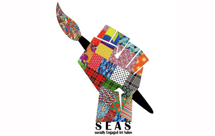 A logo of a quilted, multi-coloured hand holding a paintbrush. The text reads 'SEAS' the socially engaged art salon.