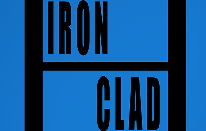 The image is a logo with a mid blue background. In the centre there is black text reading 'iron clad'.
