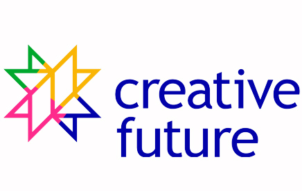 Creative Future logo is written in deep blue writing with a star-like geometric multi-coloured shape to its left.