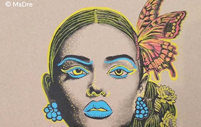 A graphic illustration of a character who may identify as female and a person of colour, wearing a butterfly and with blue lips, eyes and accessories.