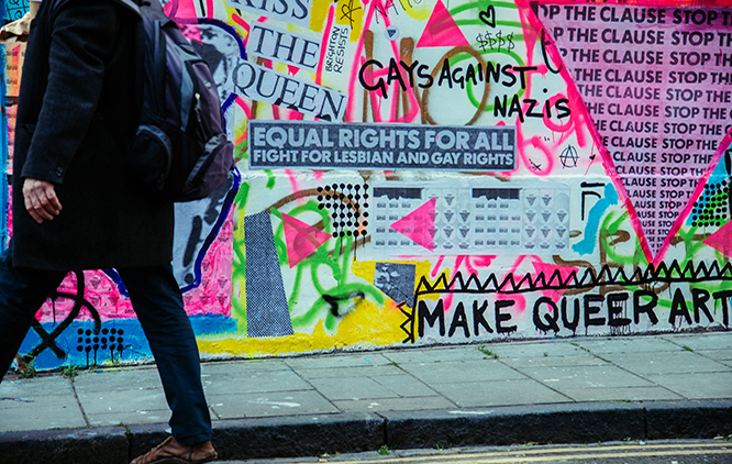 Image is of street art & graffiti in central brighton and reads 'Make Queer Art'.